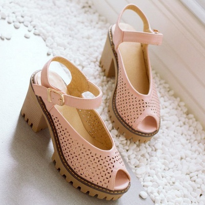 Peep Toe Platform Buckle Daily Chunky Sandals_6