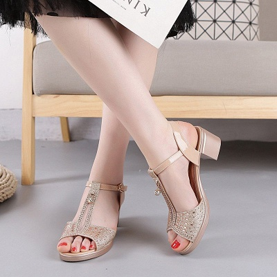 Glitter Rhinestone Buckle Peep Toe Summer Chunky Sandals_6