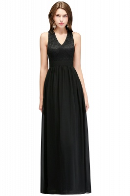 Lace V-Neck A-line Crisscross Chiffon Black Evening Dress_2
