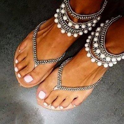 Beach Rhinestone Imitation Pearl Flip-flops