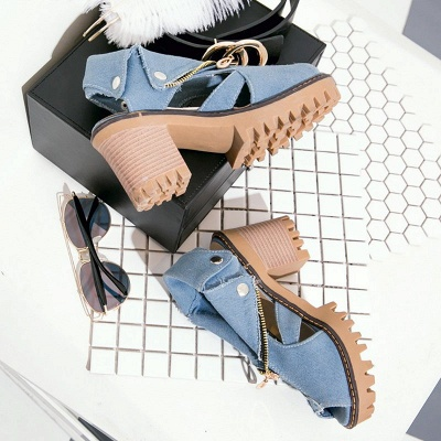 Denim Peep Toe Platform Women Chunky Sandals_8