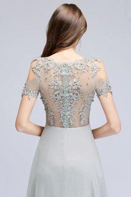 Appliques A-Line Cold-Shoulder Scoop Cheap Beaded Silver Bridesmaid Dresses_8