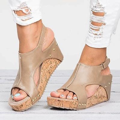 Peep Toe PU Blocking Hook-Loop Wedge Sandals_10
