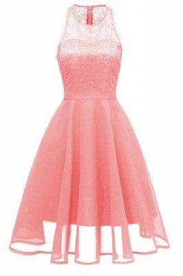 Women Round Neck Chiffon Lace Dress