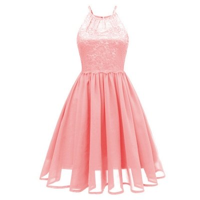 Pink Patchwork Condole Belt Lace Cut Out Round Neck Sweet Lace Dress