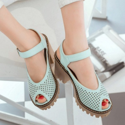 Peep Toe Platform Buckle Daily Chunky Sandals_7