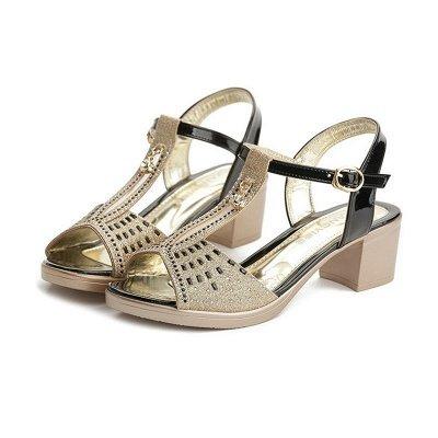 Glitter Rhinestone Buckle Peep Toe Summer Chunky Sandals_10