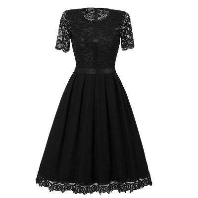 Purple Short Sleeve Knee-length Vintage Dress