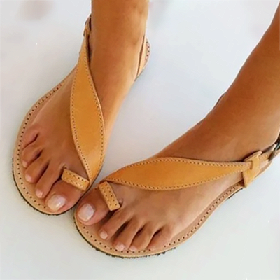 Brown Flat Heel Summer Buckle Sandals