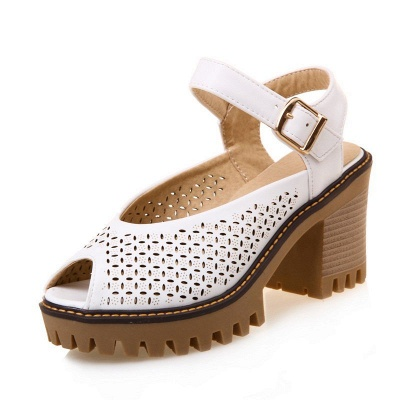Peep Toe Platform Buckle Daily Chunky Sandals_1