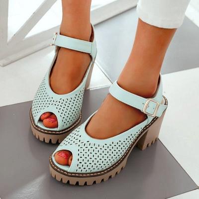 Peep Toe Platform Buckle Daily Chunky Sandals_10