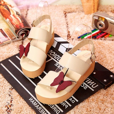 Butterfly Daily Buckle Peep Toe Platform Wedge Sandals_6