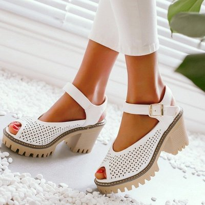 Peep Toe Platform Buckle Daily Chunky Sandals