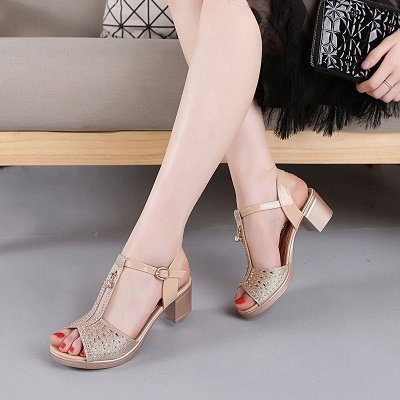 Glitter Rhinestone Buckle Peep Toe Summer Chunky Sandals_7