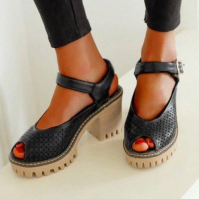 Peep Toe Platform Buckle Daily Chunky Sandals_14