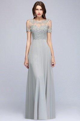 Appliques A-Line Cold-Shoulder Scoop Cheap Beaded Silver Bridesmaid Dresses_3