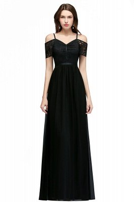 Lace Sexy Cold-Shoulder Chiffon Black Short-Sleeves Evening Dress_2