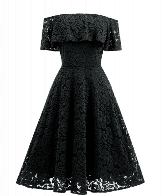 Women's Vintage Floral Lace Off Shoulder Cocktail Evening Party Swing Dress