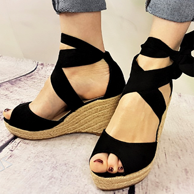 Espadrilles Bowknot Peep Toe Summer Wedge Sandals