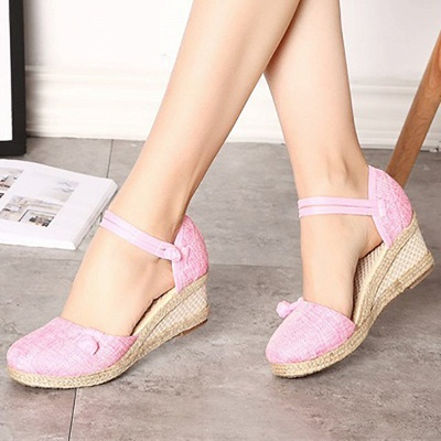 Espadrilles Button Daily Cloth Wedge Sandals