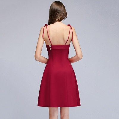 Sweetheart Straps Length Homecoming A-Line Dresses Knee Spaghetti with Buttons_3