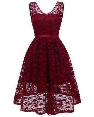 Women's Surplice V-Neck Retro Floral Lace Evening Dresses