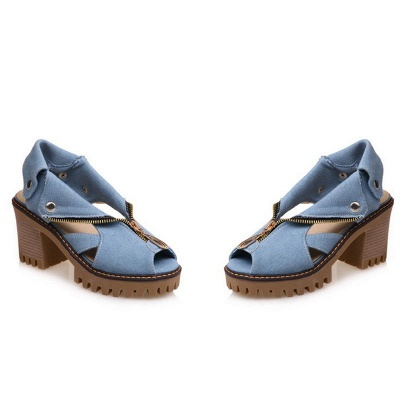 Denim Peep Toe Platform Women Chunky Sandals