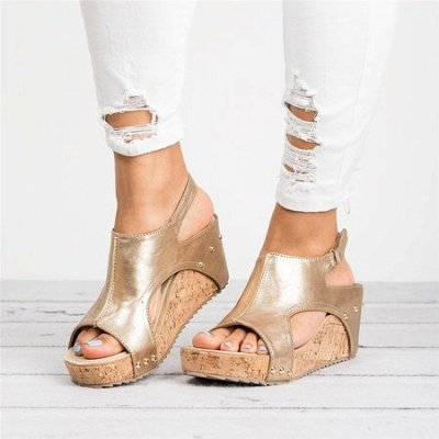 Peep Toe PU Blocking Hook-Loop Wedge Sandals_2
