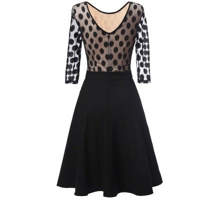 Black Dot Round Neck Vintage Lace Dress