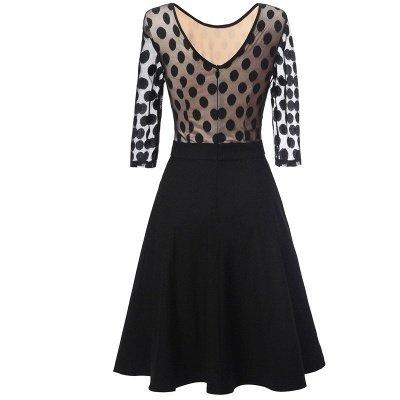 Black Dot Round Neck Vintage Lace Dress