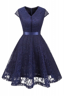 Women's Vintage 1950s Short Sleeve A-Line Cocktail Party Swing Dress with Floral Lace
