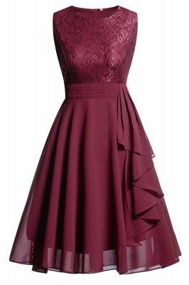 Women's Vintage Sleeveless Ruffles Belt Floral Lace Bridesmaid Chiffon Dress