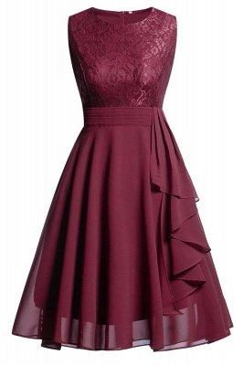 Women's Vintage Sleeveless Ruffles Belt Floral Lace Bridesmaid Chiffon Dress
