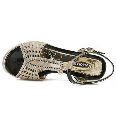 Paillettes strass Boucle Peep Toe Summer Chunky Sandales