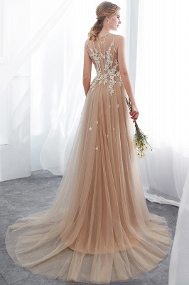 NANNIE | Aline Floor Length Sleeveless Appliqued Tulle Evening Dresses_3