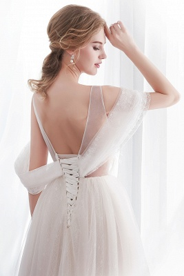 Elegant A-Line Sleeveless Floor Length Ivory Wedding Dresses Cheap_7