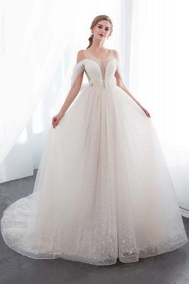 Elegant A-Line Sleeveless Floor Length Ivory Wedding Dresses Cheap_1
