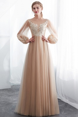NATALIE   A-line Long Sleeves Appliques Tulle Champagne Evening Dresses_5