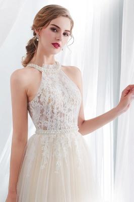 NATALIA | A-line Halter Floor Length Appliqued Tulle Evening Dresses_7