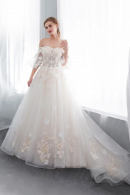 Sexy Off The Shoulder Floor Length Lace Appliques Tulle Ball Gown Wedding Dresses_4