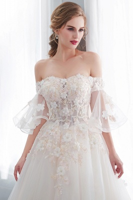Sexy Off The Shoulder Floor Length Lace Appliques Tulle Ball Gown Wedding Dresses_9