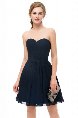 NELLY | A-line Strapless Short Black Chiffon Homecoming Dresses_7