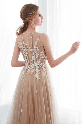 NANNIE | Aline Floor Length Sleeveless Appliqued Tulle Evening Dresses_9