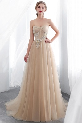NATHALIE | A-line Strapless Sweetheart Floor Length Appliques Champagne Evening Dresses_6