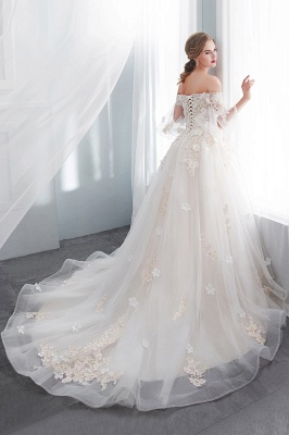Sexy Off The Shoulder Floor Length Lace Appliques Tulle Ball Gown Wedding Dresses_3