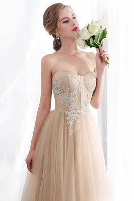 NATHALIE | A-line Strapless Sweetheart Floor Length Appliques Champagne Evening Dresses_11