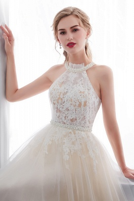 NATALIA | A-line Halter Floor Length Appliqued Tulle Evening Dresses_8