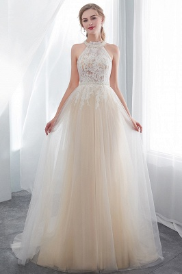 NATALIA | A-line Halter Floor Length Appliqued Tulle Evening Dresses_4