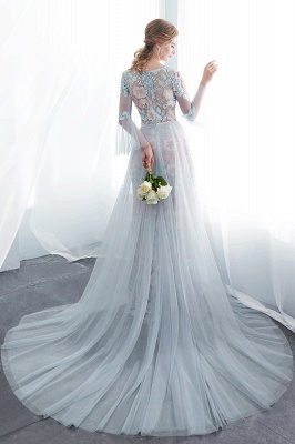 NAOMI | Sheath Long Sleeves Sheer Neckline Appliqued Flowers Evening Dresses_3