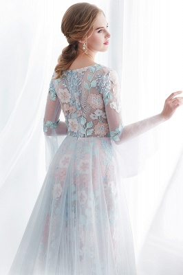 NAOMI | Sheath Long Sleeves Sheer Neckline Appliqued Flowers Evening Dresses_8